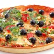 Tasty pizza with olives on white — Stock Photo