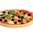 Tasty pizza with olives isolated on white — Stock Photo #7288286