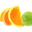 Color fruit jelly on white background — Stock Photo