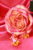 Linda rosa vermelha em cetim rosa — Fotografia Stock