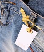 The label on the blue jeans — Stock Photo