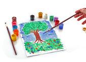 Abriu a cores de baldes de pintura e desenho de árvore — Foto Stock