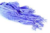 Blue female scarf isolated on white background — Stock Photo