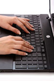 Female working on laptop — Stock Photo