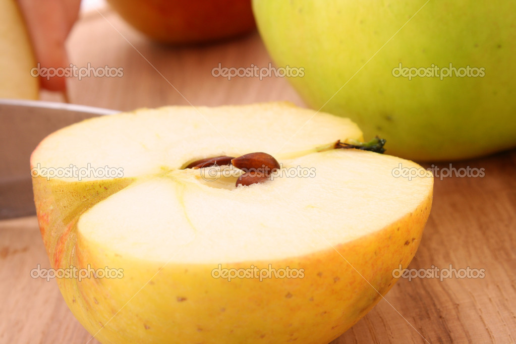 Close up of sliced green apple  Stock Photo #7288983
