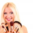 Beautiful young blonde woman with bright make-up and many brushe — Stock Photo
