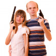 Womand mwith guns over white — Stock Photo #7294143
