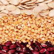 Peas, beans and seeds — Stock Photo