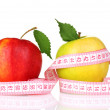 Two apples and measuring tape — Stock Photo