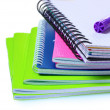 Bright notebooks and marker - Stock Photo