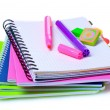 Stock Photo: Notebooks, paper clips, ruler, and markers