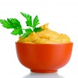 Mustard in bowl and parsley isolated on white — Stock Photo