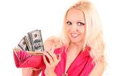 Closeup portrait of a smiling young beautiful woman showing cash — Stock Photo