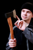 Dander man with an axe — Stock Photo