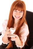 Smiling business woman drinking coffee isolated on white backgro — Stock Photo