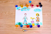Children's drawings and paint on wooden background — Стоковое фото