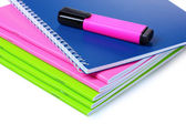 Bright notebooks and marker — Stok fotoğraf