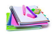 Notebooks, paper clips, ruler, and markers — Stock Photo