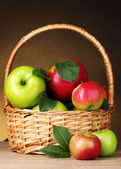 Basket of organic apples — Stock Photo
