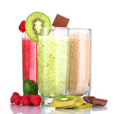 Delicious fruit smoothies and fruits — Photo