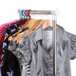 Different clothes on hangers — Stok fotoğraf