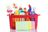 Full box of cleaning supplies — Stock Photo
