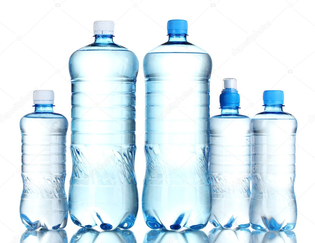Group plastic bottles of water isolated on white — Stock Photo #7622887