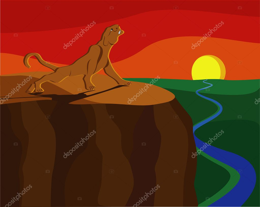 Lioness meets with the sunset on the cliff edge, illustration  Stock Vector #6787888