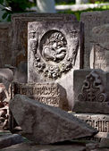 Ancient gravestone with old-cyrillic epitaph — Stock Photo