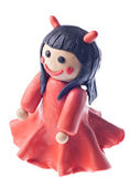 Funny plasticine devil girl — Stock Photo