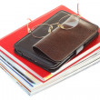Glasses eBook reader pile of books, isolated — Stock Photo #7202416