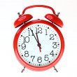 Red old style alarm clock isolated — Stock Photo