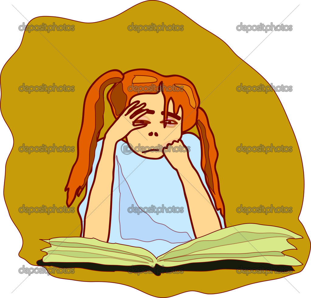 Girl does homework — Stock Vector #6822838