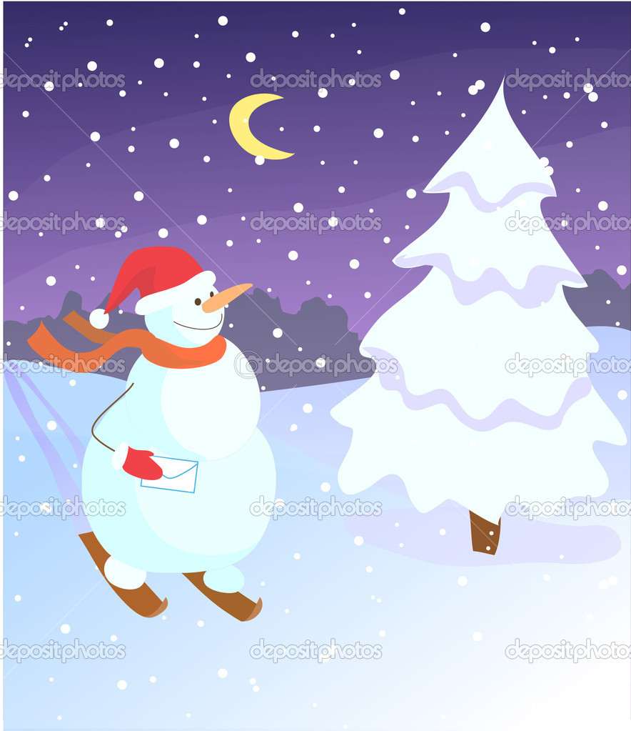 Snowman on skis, Christmas tree, snow, crescent — Stock Vector #7214249