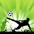 Soccer Player on Grunge Background - Stock Vector