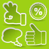 Collect Sticker with Hand, Speech Bubble and Stamp Icon — Stock Vector