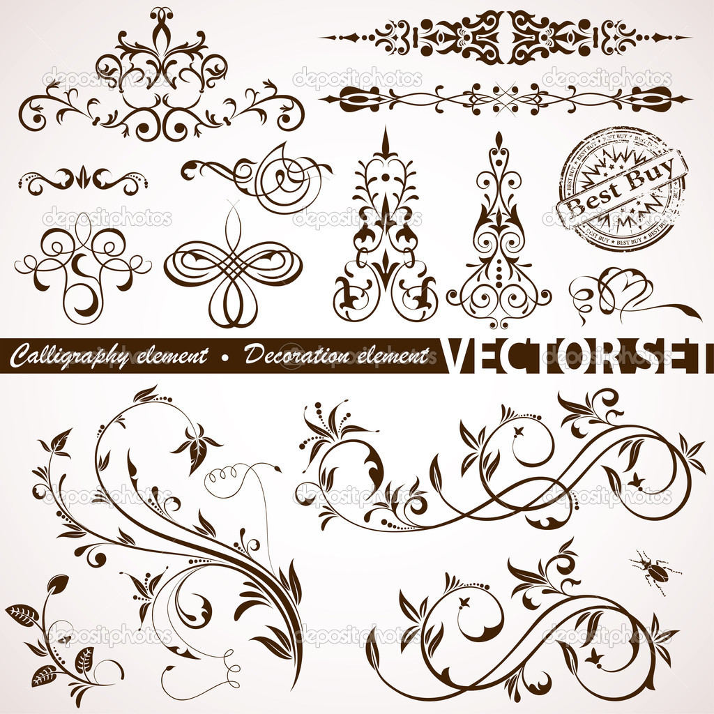 Collect Calligraphic and Floral element for design, vector illustration — ベクター素材ストック #6754741