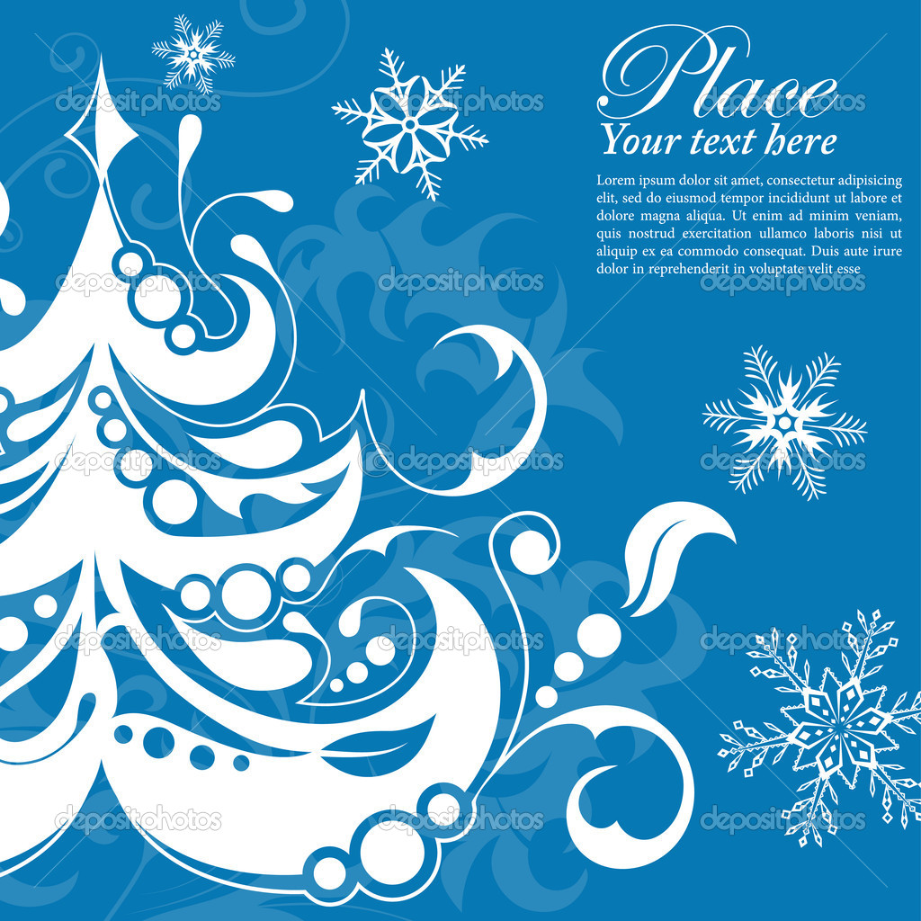 Christmas frame with tree, floral and snowflake, vector illustration — Stock Vector #6754810