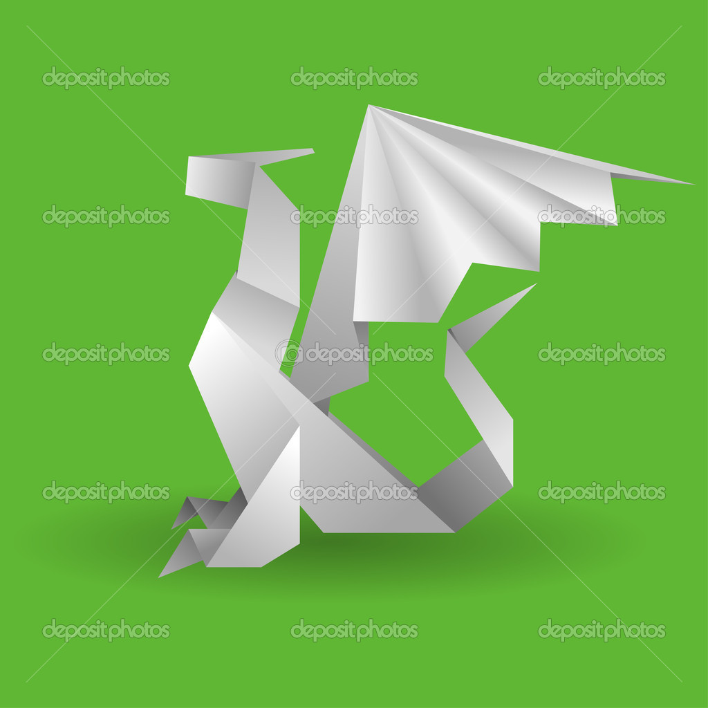 Origami Dragon — Stock Vector © TAlexey #6757290 - photo#41