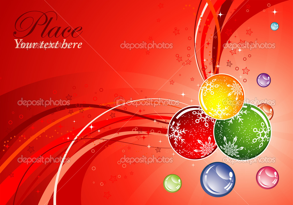 Christmas background with sphere and wave pattern, element for design, vector illustration — Stock Vector #6757393