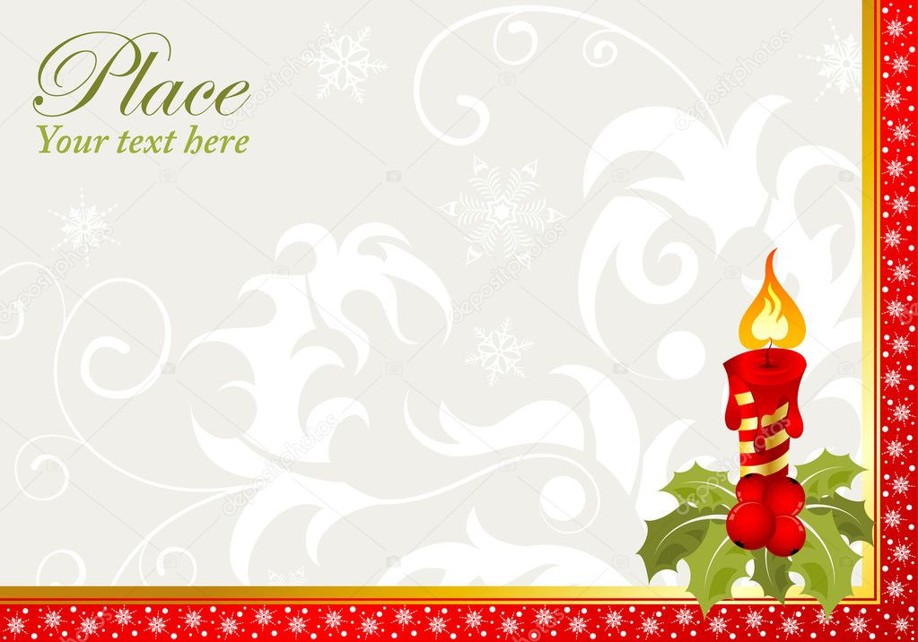 Christmas Frame with candle, element for design, vector illustration — ベクター素材ストック #6757401