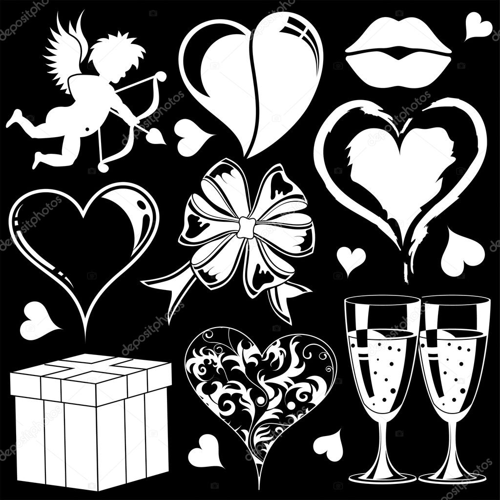Valentines Day collection with Hearts, element for design, vector illustration — Stock Vector #6770130