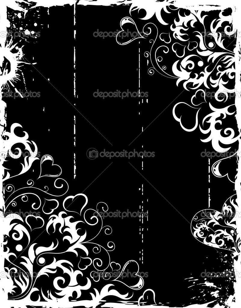 Valentines Day grunge frame with Hearts and flowers, element for design, vector illustration — Stock Vector #6770133