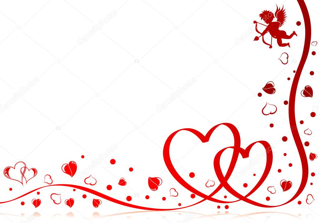 Valentines day theme with heart, ribbon and Cupid, element for design, vector illustration — Imagens vectoriais em stock #6770140