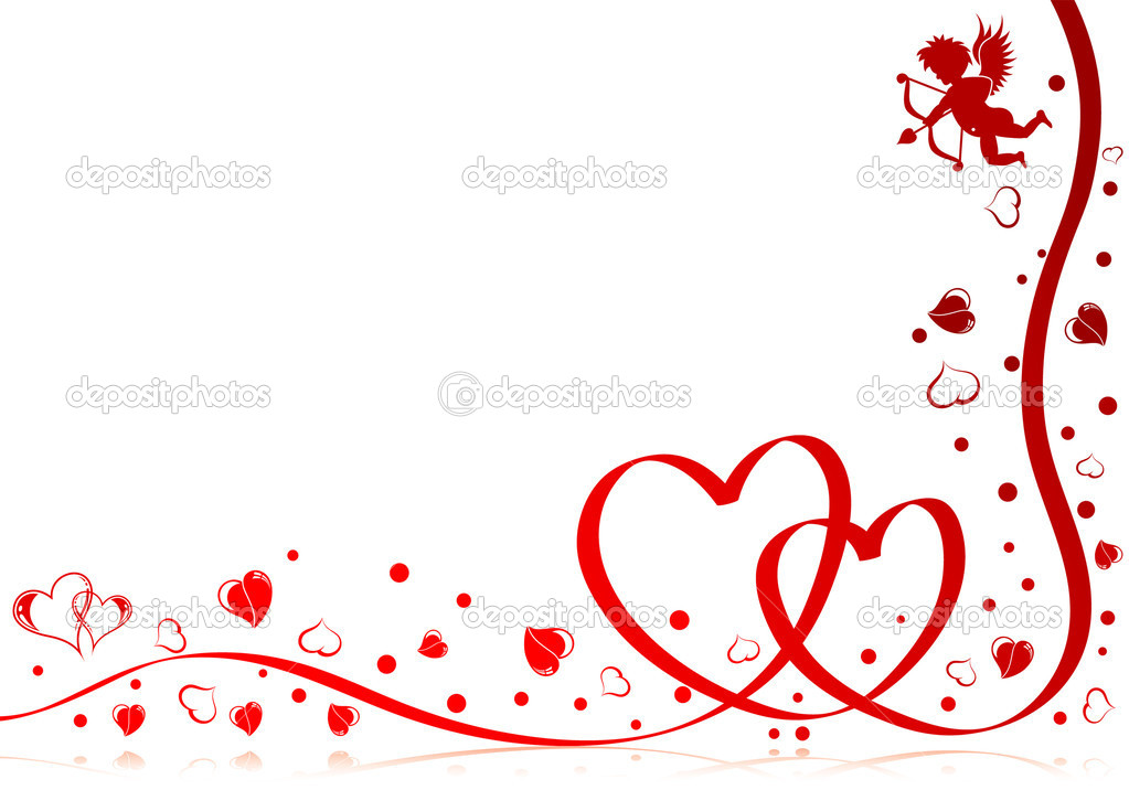 Valentines day theme with heart, ribbon and Cupid, element for design, vector illustration — Image vectorielle #6770140