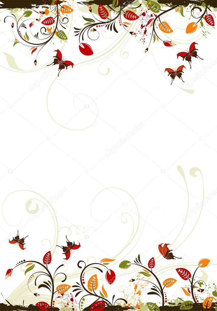 Grunge floral frame with butterfly, element for design, vector illustration — Stock Vector #6819001