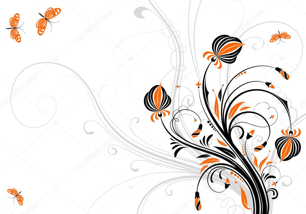 Floral background with butterfly, element for design, vector illustration — ベクター素材ストック #6819003