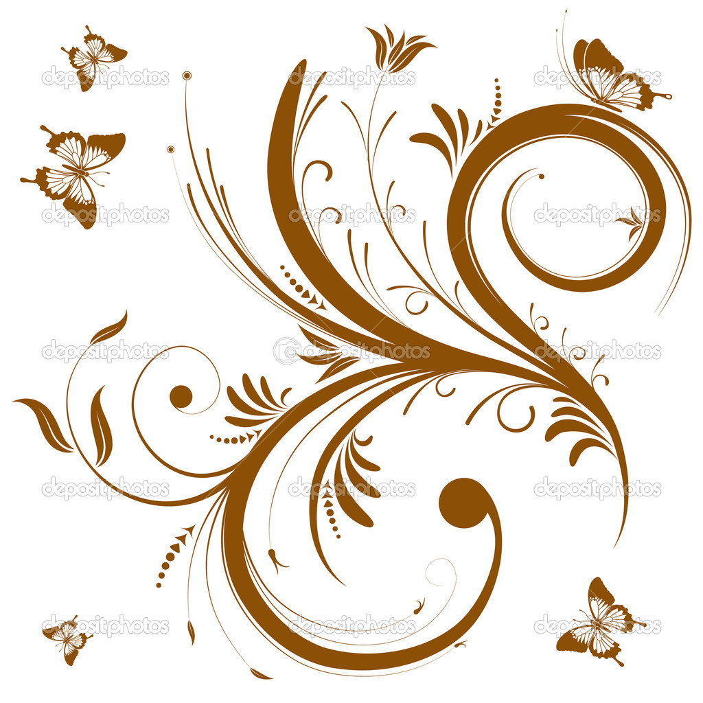 Floral background with butterfly, element for design, vector illustration — Stock Vector #6819060