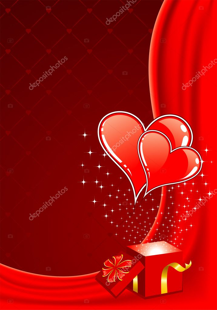 Valentines Day frame with Hearts and box, element for design, vector illustration — Stock Vector #6942267