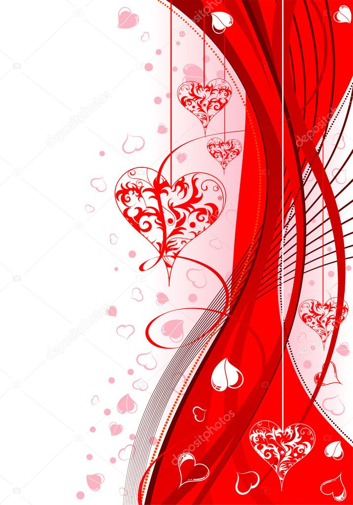 Valentines Day background with Hearts and wave pattern, element for design, vector illustration — Stock Vector #6942269